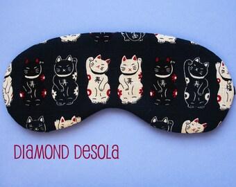 Eye Sleep Mask, Lucky Cat Maneki-neko Cotton Print. Blackout Travel Relax UK Made Gift