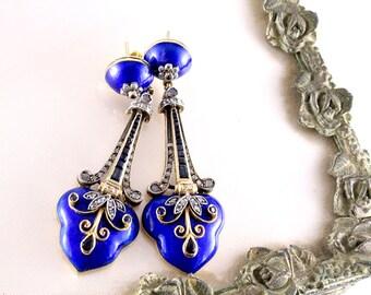Sapphire Diamond Earrings. Enamel Earrings. Estate Jewelry. Victorian Etruscan Antique Earrings.