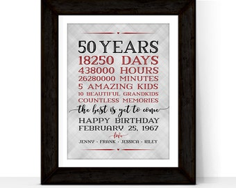 50th birthday gift for men women | adult birthday gift for her for him | Days, hours, minutes | Personalized gift for dad mom grandpa