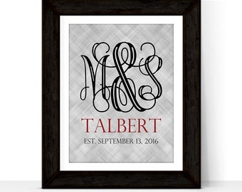 Custom 1st Anniversary Gift for Him Her | Family Established Sign | Paper Wedding Anniversary gift for husband wife | DIY Print Canvas