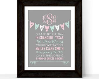 baby girl birth stat print | mint pink nursery art | monogrammed newborn baby gift girl nursery art | girl birth announcement wall art