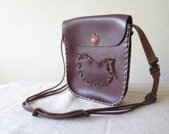 Vintage Leather Handbag Genuine Leather Dark Brown Shoulder Bag with Long Strap Boho Hippie Bag Thick Leather Bag @203