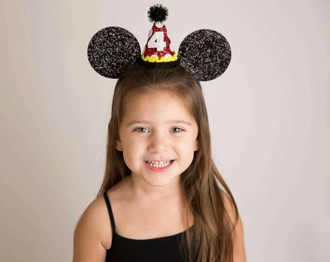 Glittery Mouse Ears Headband    Birthday Ears    Minnie Mouse Birthday     Minnie Ears    Mickey Mouse Birthday    Minnie Mouse Headband