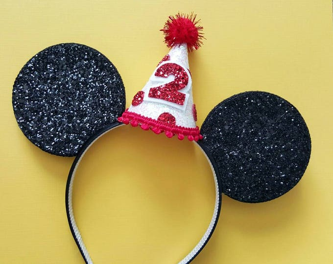 Glittery Mouse Ears Headband || Birthday Ears || Minnie Mouse Birthday || Minnie Mouse Headband || Minnie Ears || Mickey Mouse Birthday