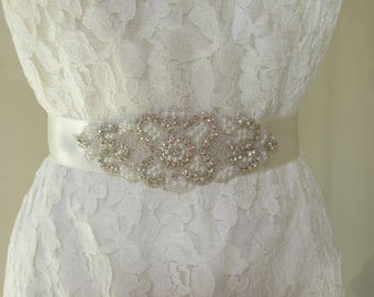 Rhinestone wedding belt, wedding sash with crystal and pearl applique bridal belt, bridal sash