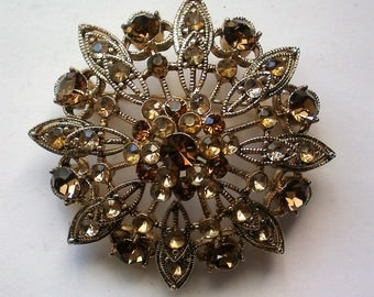 Sparkling Amber Brown Rhinestone Domed Brooch - 5190