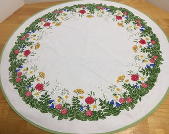Hila Very Vintage Small Round Flowered Tablecloth Green Yellow Red Blue White 1960s