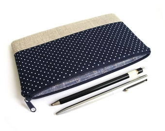 Zippered pencil case, pencil case, linen, cotton, beige, white, navy, dots
