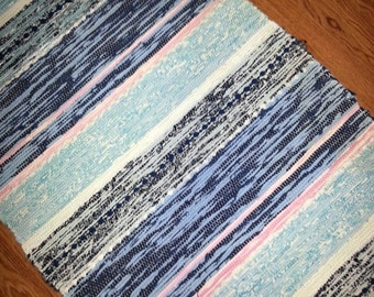 Hand woven Rag rug carpet from Sweden 1980s lovely colors in different blue and more.