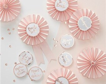 Rose gold Hen party badges