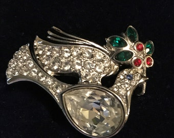 Signed Vintage Swarovski Peace Dove Brooch Christmas