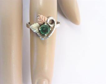 Vintage Sterling 12K Black Hills Gold Emerald Ring Size 6