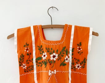 Vintage Mexican Embroidered Baby Dress, Orange, Size 9-18 Months