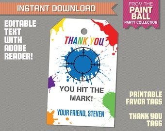 Paintball Party Favor Tags / Paintball Thank you Tag - INSTANT DOWNLOAD - Paintball Birthday - Edit and print at home with Adobe Reader
