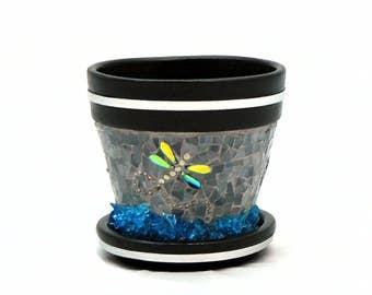 Flower Pot - Mosaic Pot - Planting Pot - Garden Pot - Planter - Artisan Pot - Herb Pot - Herb Planter - Dragonfly