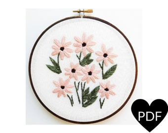 Daisy Embroidery Pattern, PDF Pattern, Floral Inspired Stitchery, Hand Embroidery Pattern, Instant Download PDF, Printable Pattern