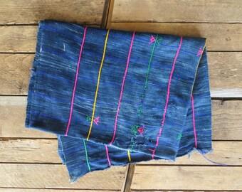 Vintage Hand Woven African Indigo Blanket / Throw