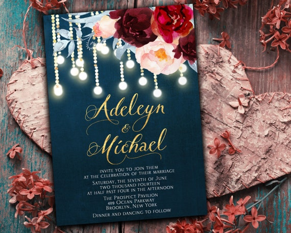 Navy Blue And White Wedding Invitations: Items Similar To Navy Blue Burgundy Wedding Invitation