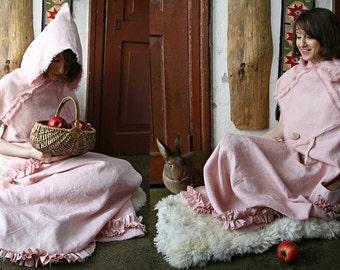 Linen dress, elegant dress, dress with hoodie, romantic summer dress, pink dress, boho dress, dream dress, medieval maxi dress, maxi dress