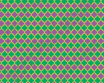Purple green and yellow background quatrefoil craft  vinyl sheet - HTV or Adhesive Vinyl -  quarterfoil pattern Mardi Gras  HTV1461