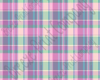 Madras plaid craft vinyl sheet - HTV or Adhesive Vinyl -  spring colors purple blue green HTV1835