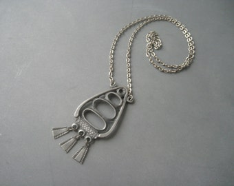 Modernist pewter 'fish' necklace, Norway.