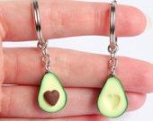 Cute green avocado friendship keychain set hearts asymmetric bff avocado gift friendship present girlfriend boyfriend avocado Valentines day