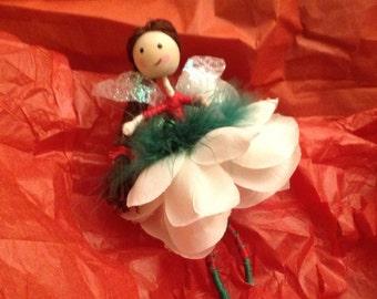 """Handmade Fairy- """"Christmas Fairy with brown braid"""""""