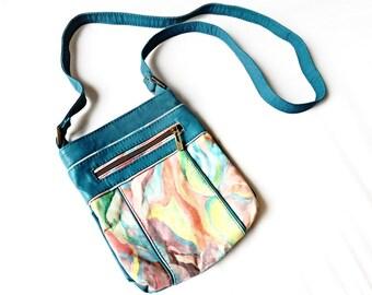 Crossbody Painted Leather Turquoise Rainbow Every day Clutch Purse Handbag messenger Bohemian Crosshoulder Boho Vintage Shoulder Women Bag