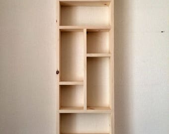 Handmade 10 compartment tall wall shelf, pigeon hole shelf