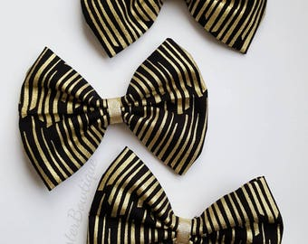 Black & Gold Fabric Bow