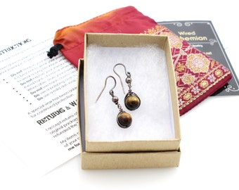 Tiger Eye Dangle Earrings, Copper Jewelry, Wire Wrapped Basics for Everyday Wear