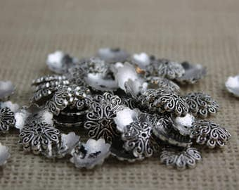 Vintage Antique Silver Pewter Bead Caps (22 Pieces)