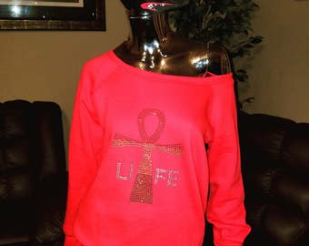 LIFE- Ankh- Off the shoulder sweatshirt