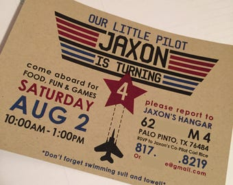 Fighter Pilot Birthday Party Invitations - Customized with your Info - You Print PDF