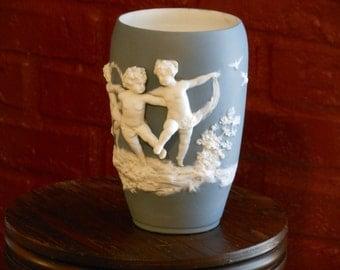 German Jasper Ware Vase with Applied Cherubs