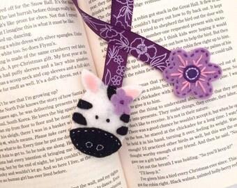Zebra felt bookmark | handmade felt bookmark