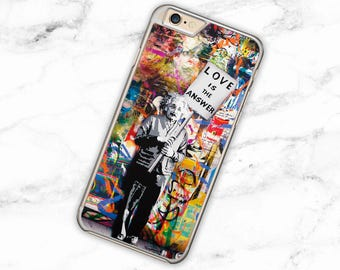 Banksy Einstein Case for iPhone 4, 4s, Love is The Answer Quote Hard Cover for 5, 5s, 5c, Colourful Graffiti Phone Case for 6, 6 Plus