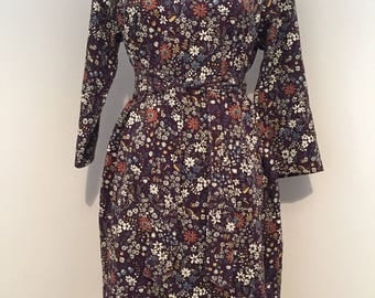 Unique Purple Pattern Dress with Belt