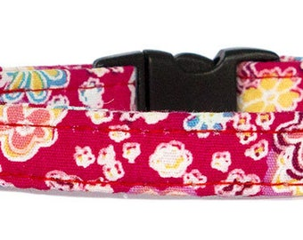 Noddy & Sweets Adjustable Cat Collar with bell and charm [Cerise]