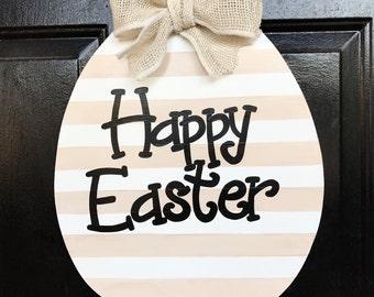 Beige and White Striped Easter Egg Door Hanger, wreath, Happy Easter