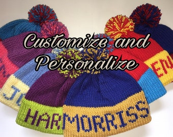 Personalize Knit Beanie with Medium Text and Medium Pom - Made to Order -