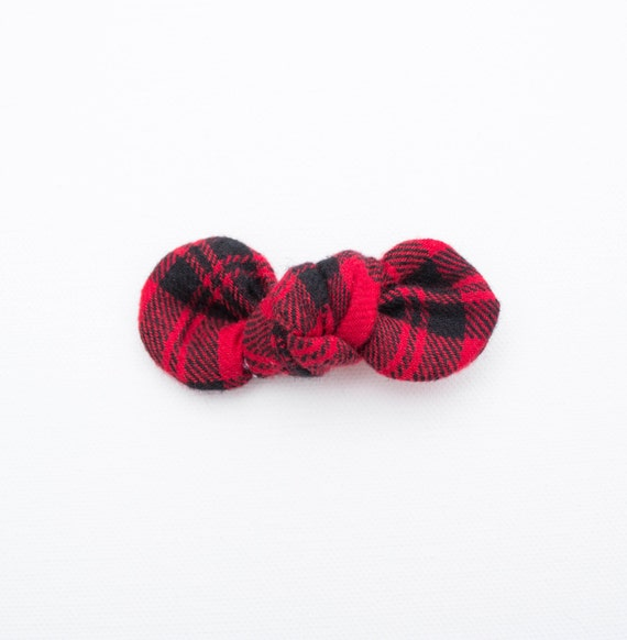 Knotty Gal Bow Buffalo Plaid Red & Black Flannel Lumberjack Style Baby Girl Hair Clip Bow : Winter Collection