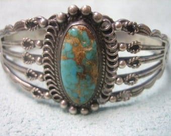 Turquoise Bracelet Sterling Silver Cuff Handmade
