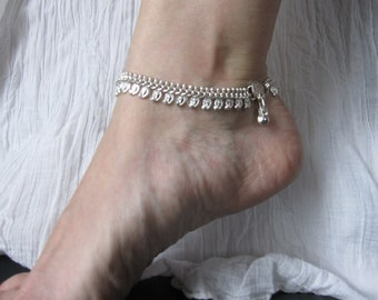 Anklet silver small feathered 3B