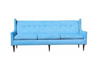 Mid Century Modern Wing Backed 3 Seat Sofa Paul McCobb Style 1950s