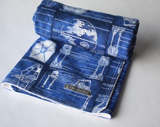 Star Wars Baby Blanket-Blue & White Schematics-MTO
