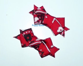 Puppy Bows ~Poodle ear bow pairs red gray SMALL dog hair pet comb clip barrette ~Usa seller