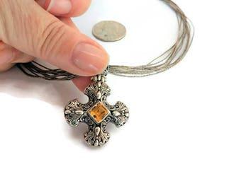 Vintage Maltese  Cross Necklace / Crusader Cross Necklace / Liquid Silver Necklace / Sterling Necklace / Maltese Cross / Crusader Jewelry /