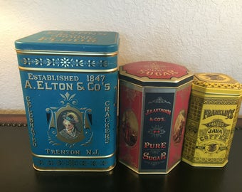 Vintage English Tins Teal Blue Red  Yellow Metal Canisters Hinged Lids Graduated Sizes Flour Sugar Coffee Made in England for Case Mfg. Co.